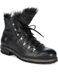 Roberto Cavalli - Fur-trim Leather Combat Boots - Lyst