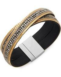 Panacea - Crisscross Leather & Hematite Bangle Bracelet - Lyst