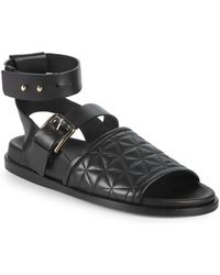 Balmain - Achille Quilted Leather Sandals - Lyst