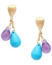 Marco Bicego - Acapulco Resort 18k Gold, Turquoise & Amethyst Drop Earrings - Lyst