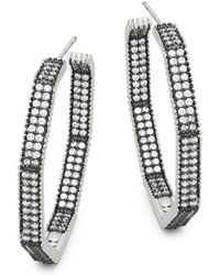 Freida Rothman - Double Row Pavé Crystal Octagon Hoop Earrings - Lyst