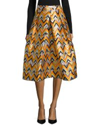 MILLY - Geometric Pleated Midi Skirt - Lyst