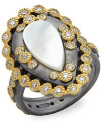 Freida Rothman - Classic Mother-of-pearl & Studded Sterling Silver Ring - Lyst