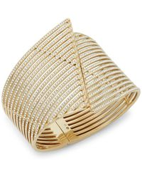 Adriana Orsini - Wide Pavé Bangle Bracelet - Lyst