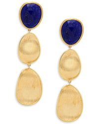 Marco Bicego - Lunaria Lapis And 18k Yellow Gold Triple Drop Earrings - Lyst