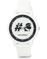 Karl Lagerfeld - 37mm Camille Silicone Watch White/black - Lyst