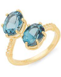 Judith Ripka - Flora Goldplated Sterling Silver London Blue & White Topaz Ring - Lyst