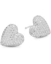 Adriana Orsini - Pavé Heart Stud Earrings - Lyst