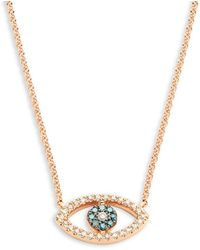 Effy - 14k Rose Gold Blue & White Diamond Eye-shaped Pendant Necklace - Lyst
