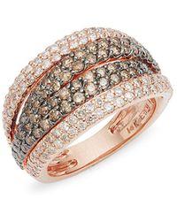 Effy - 14k Rose Gold & Two-tone Diamond Multi-band Ring - Lyst