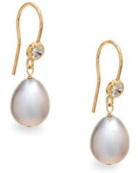 Alanna Bess - 13mm Pearl, Zircon And 14k Gold Drop Earrings - Lyst