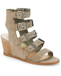 Dolce Vita - Laken Leather Wedge Cage Sandals - Lyst