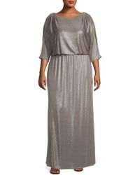 3a87c7fe Xscape Foiled Pleated Lace Blouson Gown in Natural - Lyst