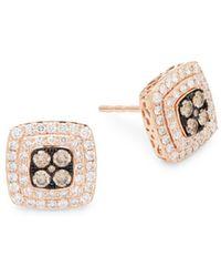 Effy - Diamond, Brown Diamond & 14k Rose Gold Square Stud Earrings - Lyst