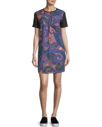 Versace Jeans - Printed Short-sleeve Mini Dress - Lyst