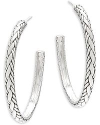 "John Hardy - Textured Sterling Silver Hoop Earrings/2"" - Lyst"