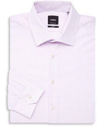 Strellson Slim Fit Check Dress Shirt - Purple