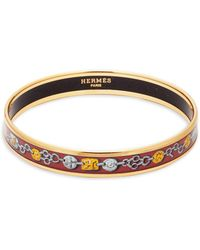 Hermès - Vintage Enamel Narrow Bangle Bracelet - Lyst