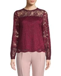 Laundry by Shelli Segal - Lace Long-sleeve Top - Lyst