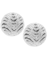 Adriana Orsini - Artemis Pavé Button Earrings - Lyst