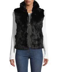 Adrienne Landau Reversible Quilted Rabbit Fur Vest - Black