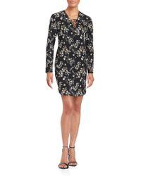 Amanda Uprichard - Long Sleeve Floral Printed Dress - Lyst