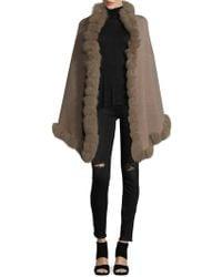 La Fiorentina - Fox Fur Pom Oversized Wrap - Lyst