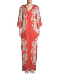 Halston - Printed Silk Caftan - Lyst