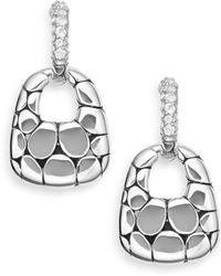 John Hardy - White Topaz & Sterling Silver Doorknocker Hoop Drop Earrings - Lyst