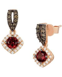 Le Vian - 14k Strawberry Gold Raspberry Rhodolite Vanilla Diamonds & Chocolate Diamonds Square Drop Earrings - Lyst
