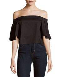f2bdb9be3e805d Tibi - Solid Off-the-shoulder Satin Top - Lyst
