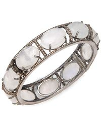 Bavna - Champagne Diamond, Rainbow Moonstone & Sterling Silver Charm Bangle - Lyst