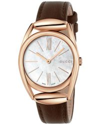 Gucci - Horsebit Rose Goldtone Brown Leather Strap Watch, Ya140507 - Lyst