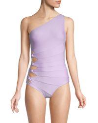 dd23a6c55790c Lyst - Ivanka Trump Chevron Printed Strapless One-piece Swimsuit in ...