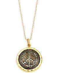 Artisan - 14k Gold, Silver & Diamond Peace Sign Pendant Necklace - Lyst