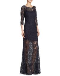 Kay Unger - Illusion Lace Gown - Lyst