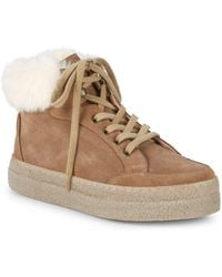 Saks Fifth Avenue - Faux Shearling-lined & Suede Platform Sneakers - Lyst