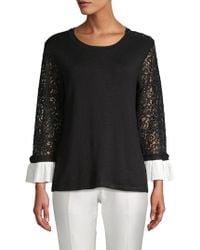 Karl Lagerfeld - Lace Sleeve Sweater - Lyst