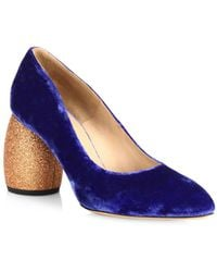 Dries Van Noten - Velvet Glitter Heel Pumps - Lyst