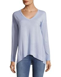 Saks Fifth Avenue Black Asymmetrical V-neck Top