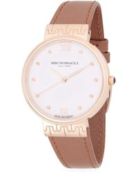Bruno Magli - Unique Stainless Steel Analog Leather-strap Watch - Lyst