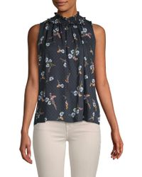 Rebecca Taylor - Natalie Floral Sleeveless Silk Top - Lyst