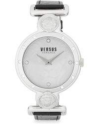 Versus - Swarovski Crystal Studded White Dial Leather Strap Watch - Lyst