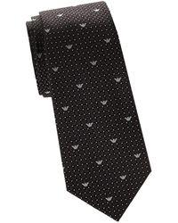 Armani - Geometric Logo Print Silk Tie - Lyst