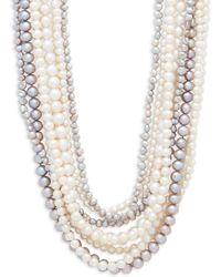 Belpearl - 4-8mm Multicolour Semi-round & Baroque Pearl And Sterling Silver Multirow Necklace - Lyst