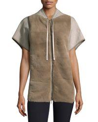 Lafayette 148 New York - Rabbit Fur Short-sleeve Hoodie - Lyst