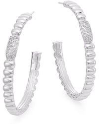 "John Hardy - Bedeg 0.30 Tcw Diamond & Sterling Silver Hoop Earrings/1.5"" - Lyst"