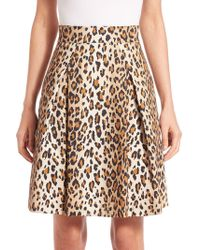 Carolina Herrera - Cheetah-print Stretch Cotton Skirt - Lyst