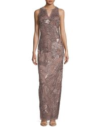 Adrianna Papell - Beaded Long Dress - Lyst