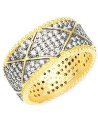 Freida Rothman - Contemporary Deco Sterling Silver & Pavé Crystal Eternity Ring - Lyst
